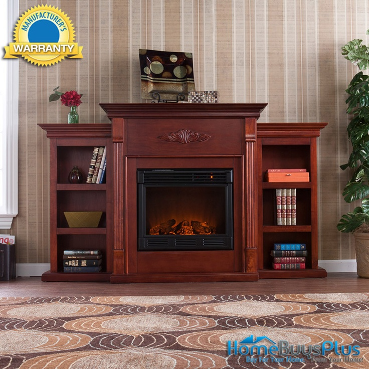 Perfect Mahogany Portable Electric Fireplace Bookcases Tv Media Stand Remote.  $749.99