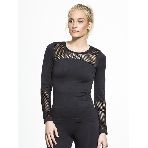ADIDAS BY STELLA MCCARTNEY The Seamless Mesh Top ($98) ❤ liked on Polyvore featuring activewear, activewear tops, long sleeve activewear, adidas activewear, adidas, adidas sportswear and long sleeve activewear tops