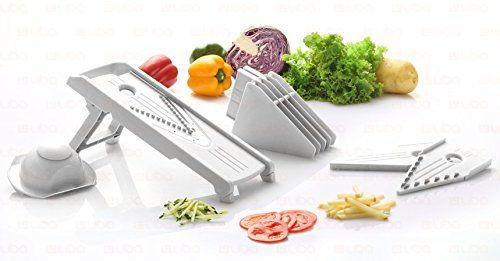 Mandoline Slicer - Vegetable Slicer - Food Slicer - Vegetable Cutter - Cheese Slicer - Vegetable Julienne Slicer with Surgical Grade Stainless Steel Blades (White)