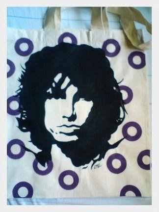 Ręcznie malowana torba z Jim Morrison.