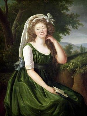 Countess du Barry 1789 by Le Brun A sleeveless, colored chemise dress?