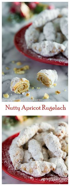Chopped walnuts and apricot jam rolled into buttery and flaky pastry dough with a dusting of powdered sugar.