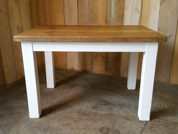 Reclaimed pine square style table with painted base.