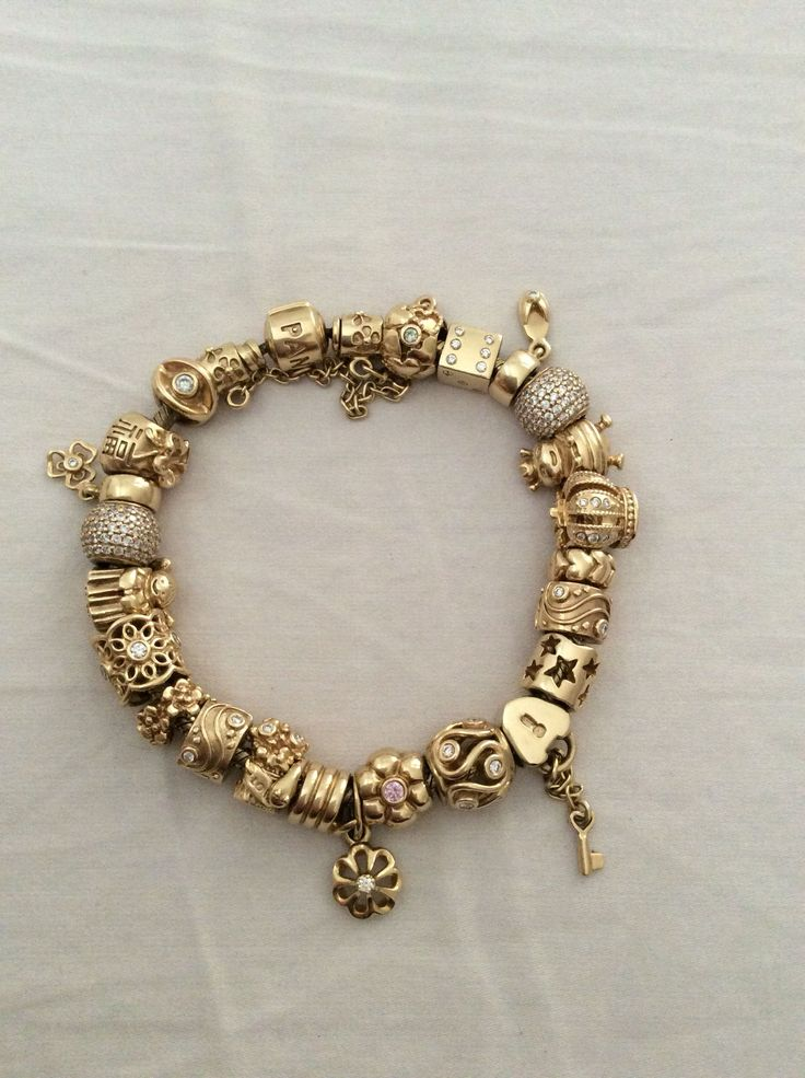 Pandora Gold Bracelet & beads. | Most Beautiful Bracelets ...