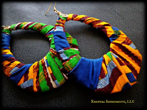 Kente Fabric Hoop Earrings - Colorful African Fabric Earrings, Ethnic Statement Jewelry on Etsy, $18.00