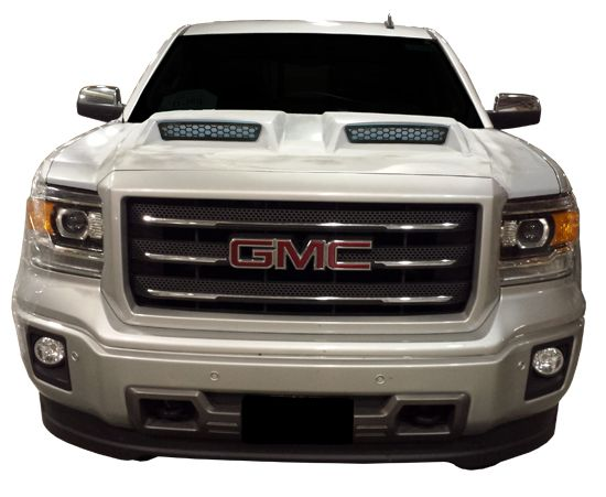 14-15 GMC Sierra Ram Air Dual Scoop Power Hood at Carolina Classic Trucks