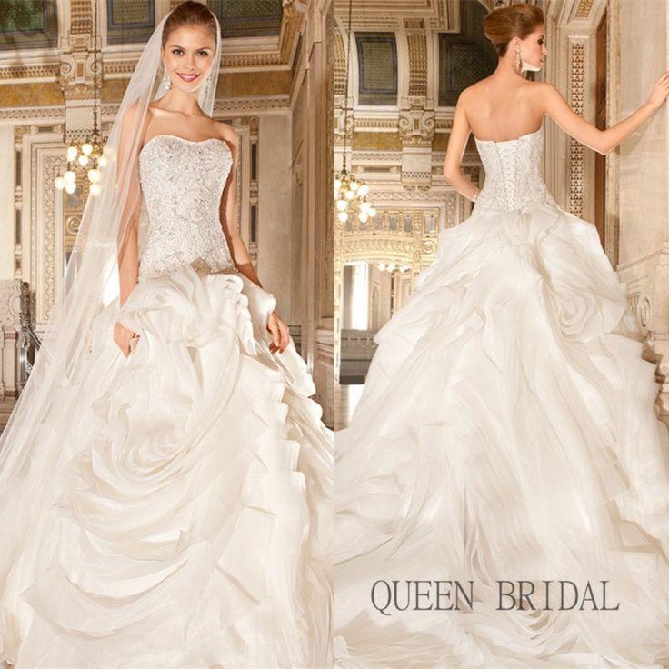 Cheap Sirena sin tirantes de Organza encaje vestido de noiva 2015 blanco / marfil vestido de boda barato China envío gratis por encargo XC31, Compro Calidad Vestidos de Novia directamente de los surtidores de China:                                                    Recordatorio: