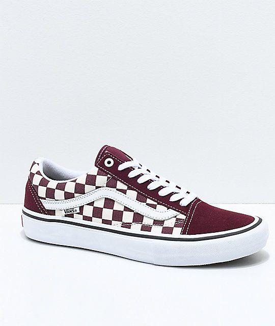 078f3308b0 Vans Old Skool Pro Port Royal   White Checkered Skate Shoes