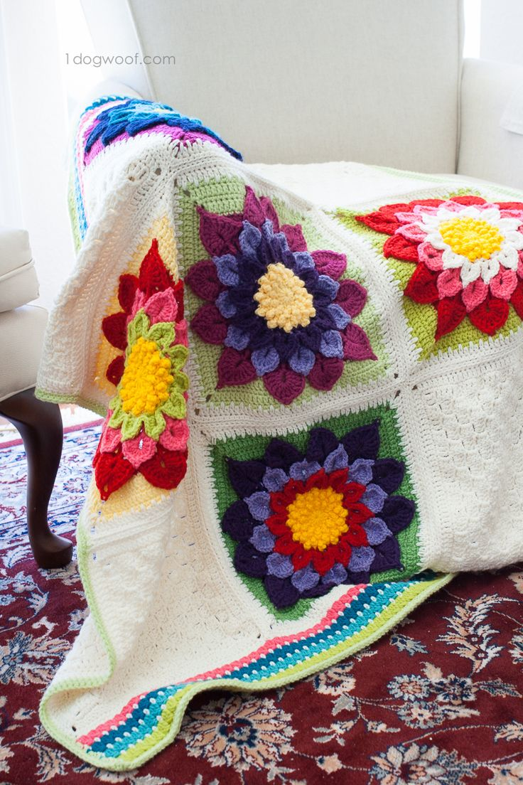 Diy crochet 6 petal puff stitch flower blanket - My Labor Of Love Crocodile Flower Afghan