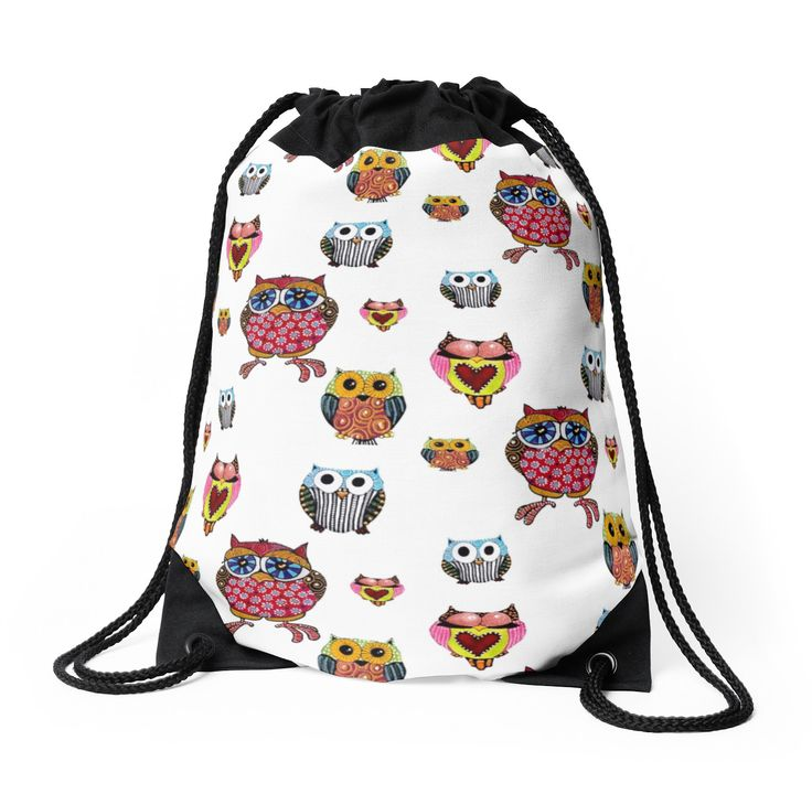 Owl Collage Drawstring Bag $35.00 #Christmas