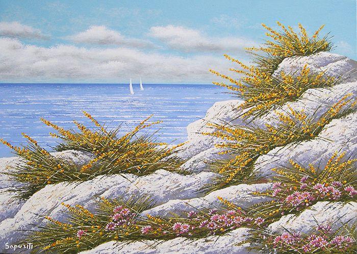 dipinto - Paesaggio marino - olio su tela -  50 x 70 - Fioritura sul mare - Pittore Marco Saporiti - Italia