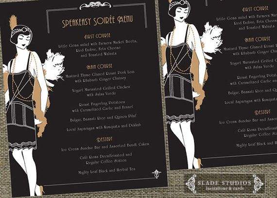 Great Gatsby Glamour 1920s Flapper Party Menu. by SladeStudios, $20.00