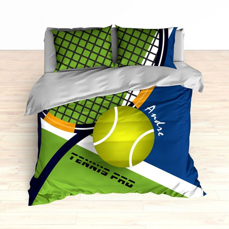 Tennis Bedding  Tennis Comforter  Tennis Duvet  Green  Blue  Personalized  Kids bedding. 17 Best images about Custom Bedding   Designed for YOU on
