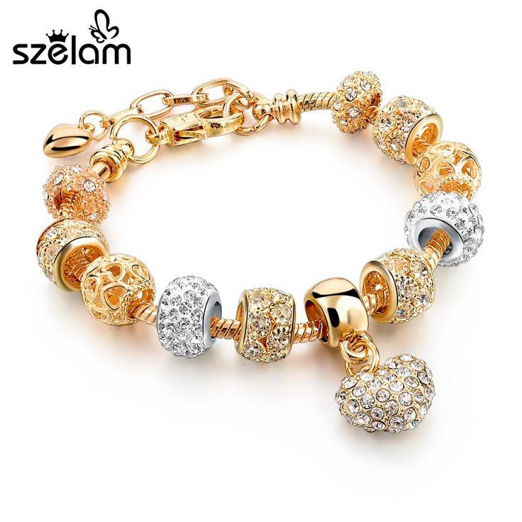 Szelam Luxury Crystal Heart Charm Bracelets & Bangles Gold Bracelets For Women Jewellery Pulseira Feminina Sbr160056 //Price: $19.24 & FREE Shipping //     #hashtag1