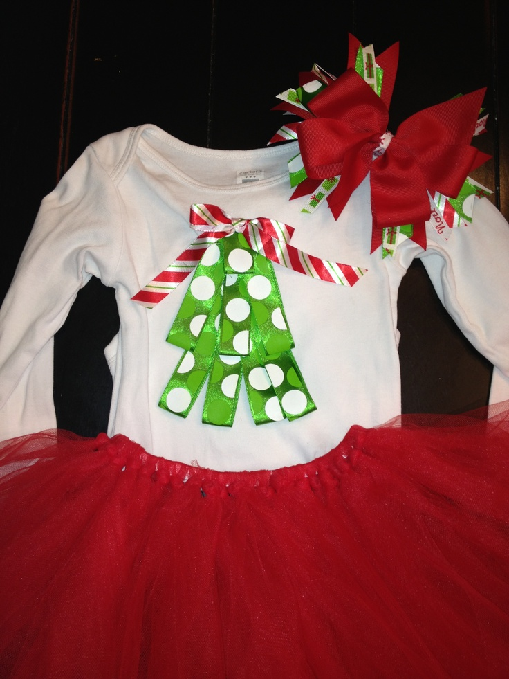 Christmas onesie, tutu, and matching hairbow I made for Nora.