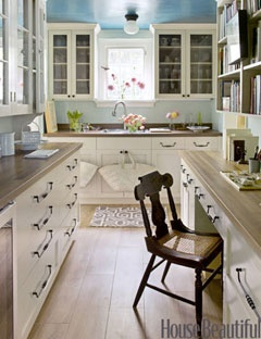 Do Make a Small Space Work for You  A tiny kitchen didn't stop contributing editor Frances Schultz from purchasing her dream home. She made the most of the narrow space by extending cabinets all the way up to the ceiling. Glass fronts make it easy to spot specific items, as do deep drawers in lieu of lower cabinets.