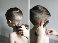 Save money by getting haircuts right at home! Click for a tutorial on how to DIY a cute modern boy's haircut!