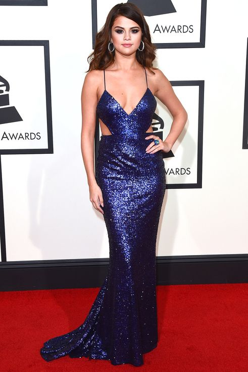 Best dressed at the 2016 Grammy Awards: Selena Gomez in a navy sequin Calvin Klein Collection dress