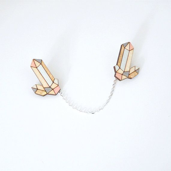Crystal quartz laser cut collar pins  pastels and gold by Ravdeco