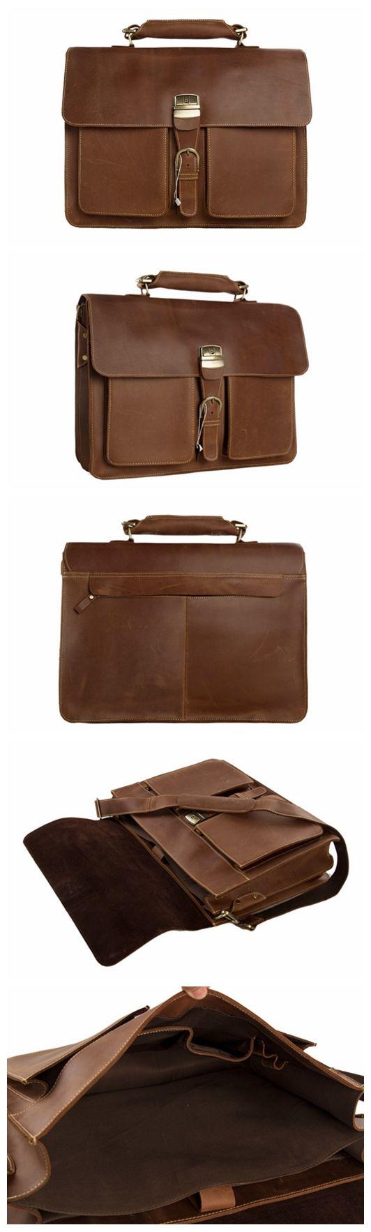 Handmade Italian Full Grain Vintage Brown Leather Briefcase Men Messenger Bag Laptop Bag 1031 Leather Briefcase Men Messenger Bag Men Mens Leather Bag