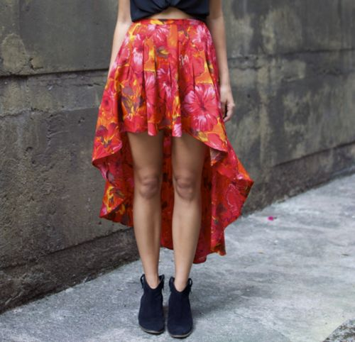 Awesome Asymmetrical hem!    Ps, also a great idea for updating an old skirt.
