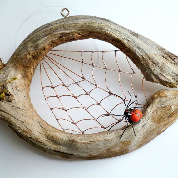 Little Black Bugs On Kitchen Counter: New Small Handmade Driftwood Spider Web Custom Perfect