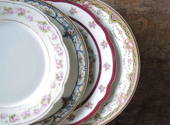 4 Mismatched Salad Plates by NoritakeVintage Fine China with Floral Patterns