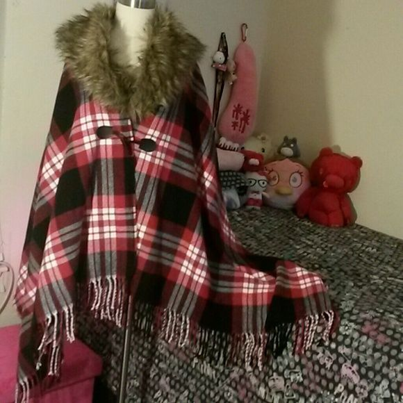 Faux Fur collar Shawl New without tag. In great condition.  Removable faux fur collar ^.^ Jackets & Coats Capes