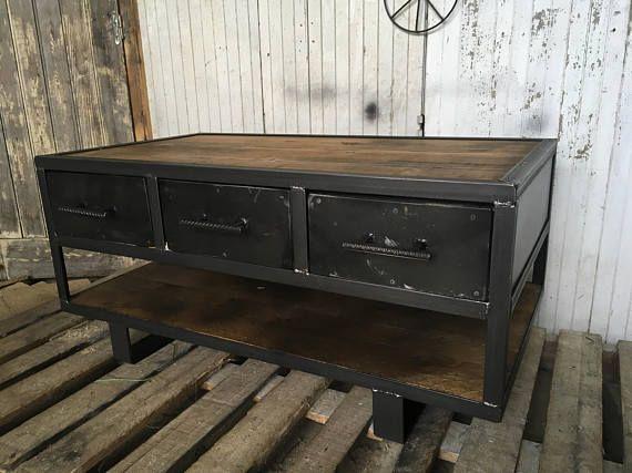 Table De Style Industriel Deux Tiroirs With Images Decor Home
