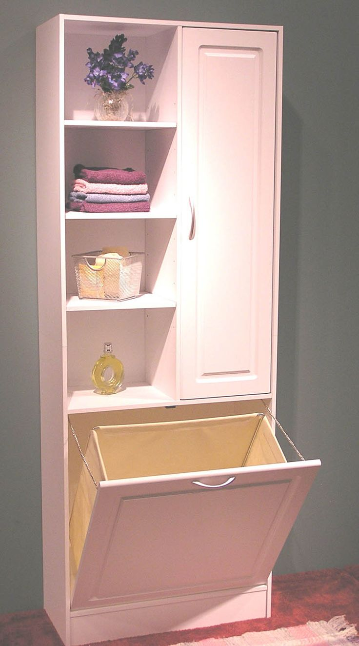 Bathroom storage cabinet with hamper - 4d Concepts White Large Bathroom Storage Tower With Hamper 159 00