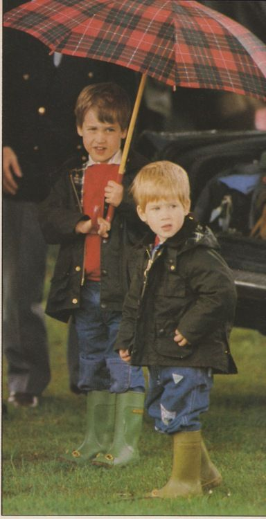 """William and Harry at a polo match. Ready for the rain with their Bedales and wellies. From """"Majesty"""" magazine August 1987."""