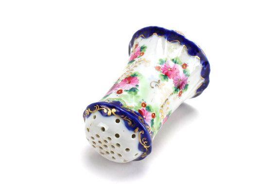 Vintage Sugar Shaker, Muffineer, Victorian, Sugar Sprinkler, Porcelain, Hand Painted, Floral, Gold Trimmed, Nippon, With Cork, Epsteam