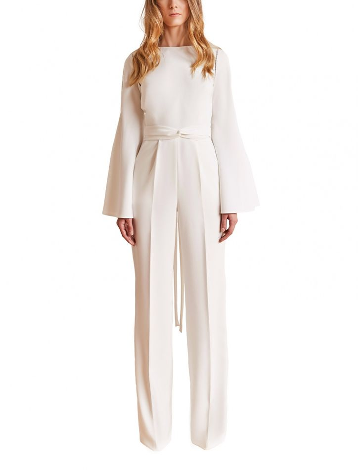 Wide-leg silhouette bridal jumpsuit with romantic long flared sleeves and ladder insert trim.  #maisonraquette by Violette and Dana Basoc