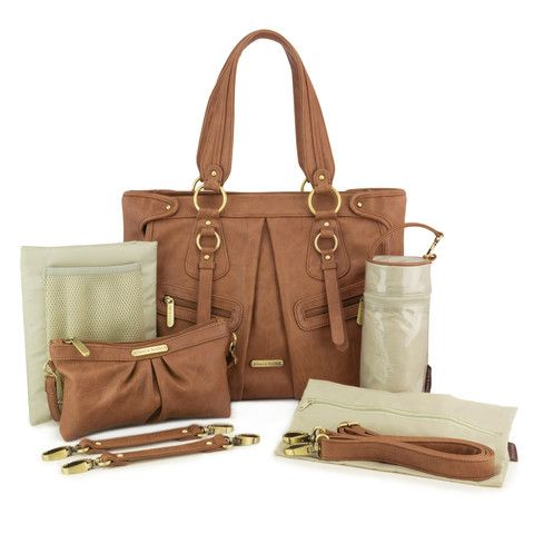 "timi & leslie ""Dawn"" Caramel Designer Baby Bag 7 Piece Set"