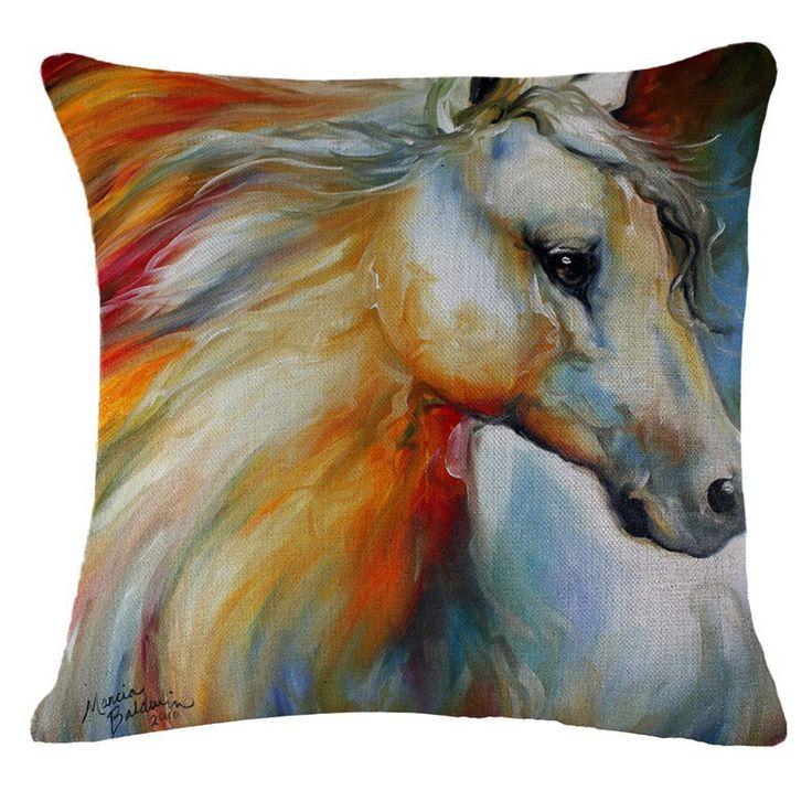 Watercolor Horse Art Cushion Decorative Throw Pillow Case Cover 18x18 (Case…