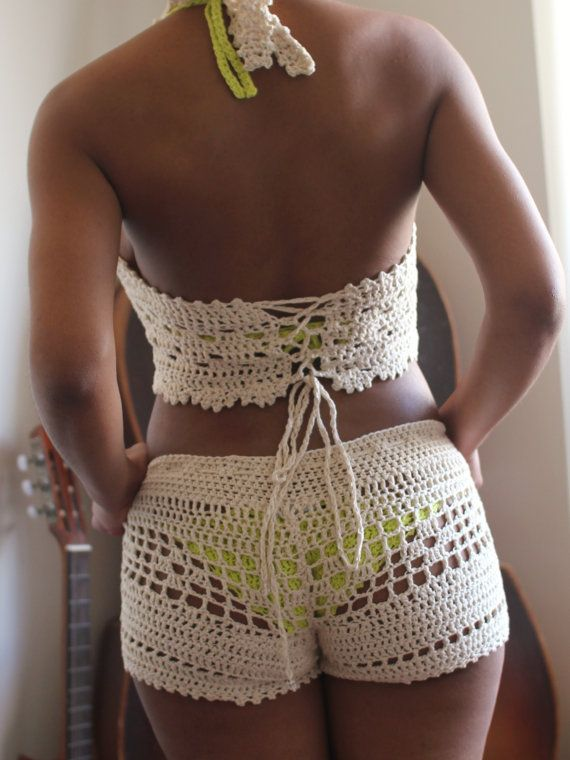 Bileya Hand-crocheted low-rise drawstring women shorts/ hot pants with open stitch (unlined). Hand knit in Chile. Shown here in Nude (ivory), size Large, worn on top of a lime bikini with a matching Bileya crochet halter top (sold separately here on Etsy). Great at the beach on top of a bikini or hot pants for a night on the town. If you would like the shorts in a different color or like to order them with the matching top and bikini just let me know at check-out, or contact me for optio...