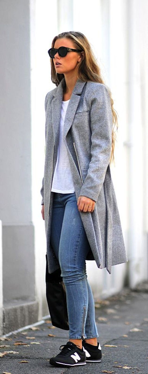 grey coat with sneakers