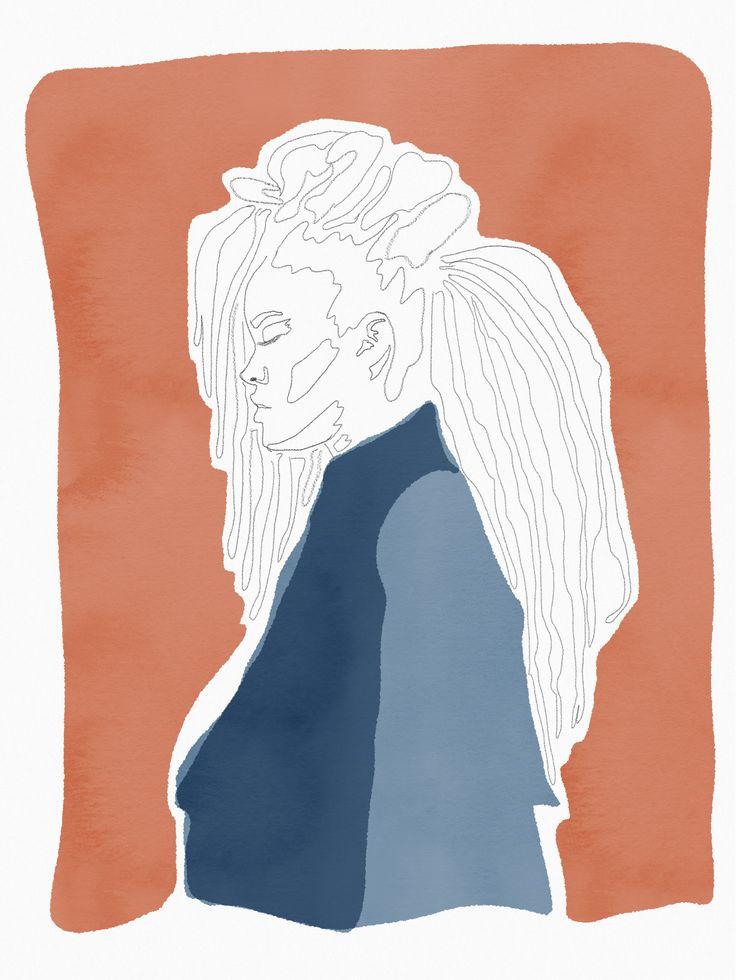 Rihanna ilustración #rihannaillustration dreadlocks by @theheadhunt