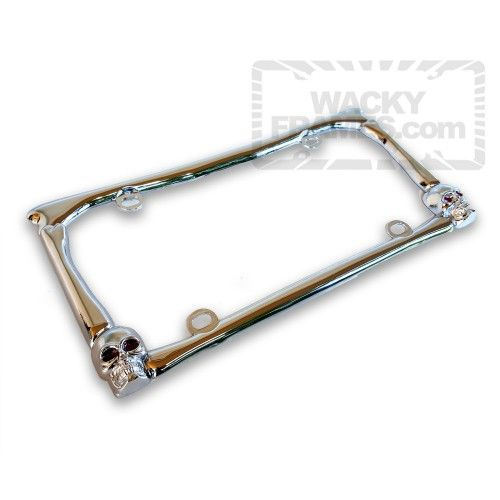 chrome skulls and bones license plate frame wackyframescom