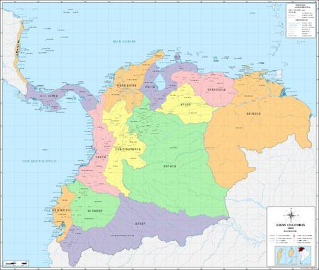 """Proyecto de la """"Gran Colombia"""" promovido por Simón Bolívar."""