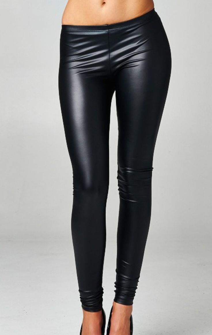- Fitted legging. Elastic at waist. This legging is made with medium weight pleather fabric that is soft and has great stretch. - 96% POLYESTER 4% SPANDEX - Leggings Run Small - Lucky Duck Stylists Re