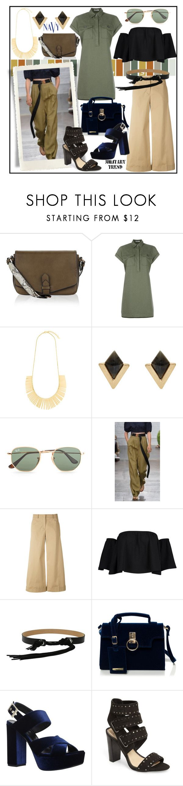 """MILITARY TREND!!!"" by kskafida ❤ liked on Polyvore featuring Accessorize, T By Alexander Wang, Ray-Ban, TIBI, Loro Piana, Boohoo, McQ by Alexander McQueen, Carvela, Jessica Simpson and COVERGIRL"