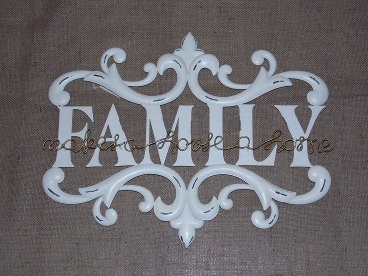 Scrolling Large White Metal Vintage Family Wall Sign, £34.95