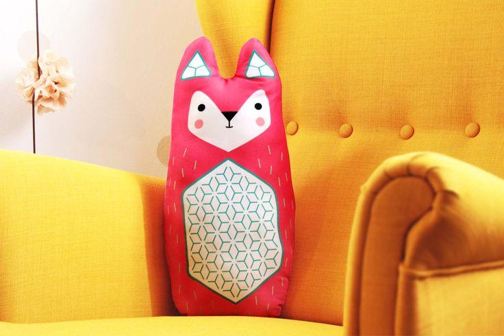 FOX big, soft stuffed cushion  #cushion #pillow #toy #baby #kidsroom #fox #illustration #design  #cute #animal #design #nursery
