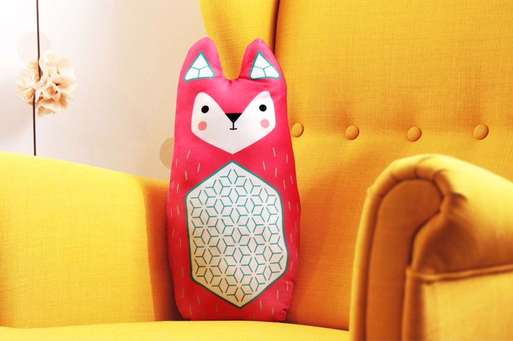 FOX big, soft stuffed cushion  #cushion #pillow #toy #baby #kidsroom #fox #illustration #design  #cute #animal #design #nursery