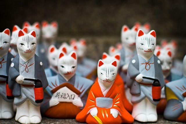 Inari Kitsune: Shinto Fox Spirits  The white foxes of Inari at the Inari shrine in Kyoto, Japan. For Shinto Buddhists, the fox is a messenger between good and evil.