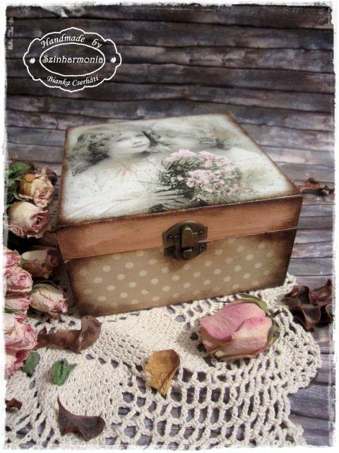 Vintage doboz - barátnők (teafiltertartó, teás doboz, ékszertartó), Ékszer, óra, Otthon, lakberendezés, Konyhafelszerelés, Tárolóeszköz, Meska