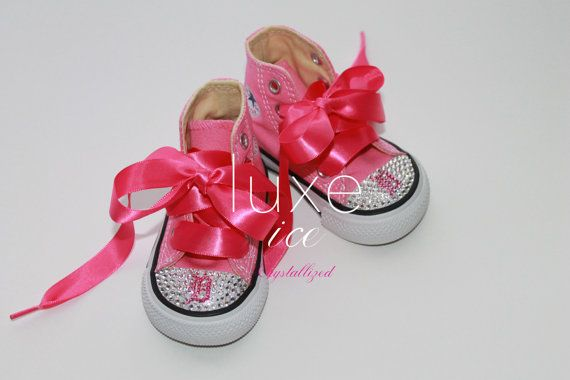 Converse Chucks high tops w Swarovski Crystals Pink & by luxeice, $84.95