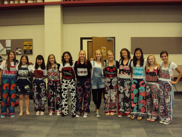 Senior Homecoming Overalls   All the band senior girls wear their senior overalls that they made ...