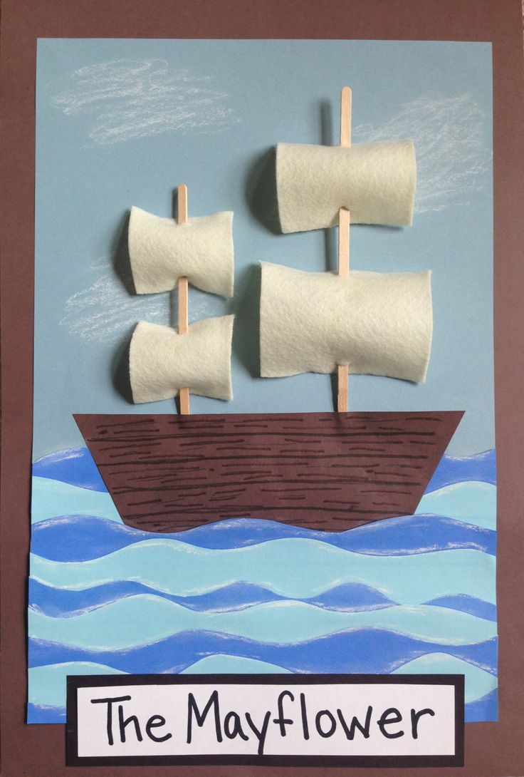 || 1st grade Mayflower art project || Colored construction paper, cream-colored felt, craft sticks.  Waves cut out of 2 shades of blue, overlapped, highlighted with white oil pastel.  (Thanksgiving craft)